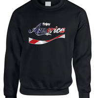 Adult Sweatshirt Enjoy America 4th Of July Cool USA Top