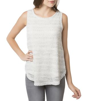 Avec Womens Knit Hi-Low Tank Top