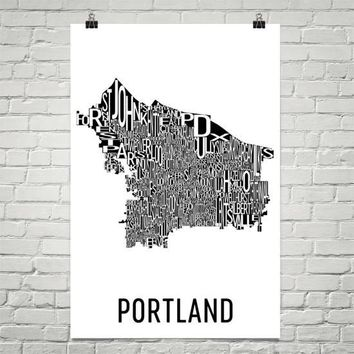 Portland Neighborhood Typography Prints – Modern Map Art
