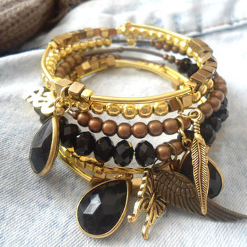 USA symbol charm bracelet Gifts for teenage girls Butterfly lucky meaning Adjustable bangle wrap stack Gold and black jewelry Fensy present