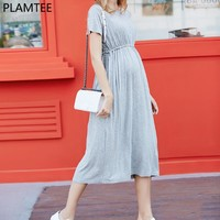 Short Sleeve Elastic Waist  Breathable Maternity Dress