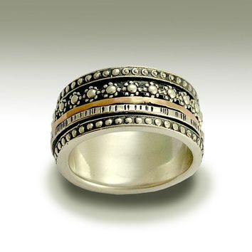 Sterling silver band with silver and gold spinners by artisanlook