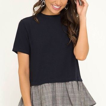 Short Sleeve Knit Mock Neck Top with Woven Checkered Print Contrast Fabric - Black
