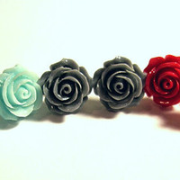 """1 Pair Rose Stud Pierced Earrings to Match my """"Roses are ..."""" Conch Cuffs Wedding Prom Bridal  2 Earrings"""
