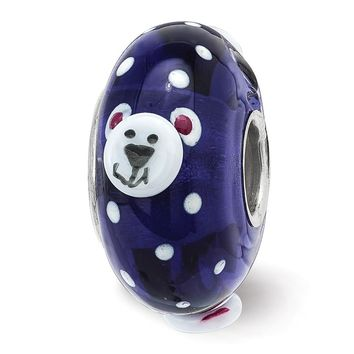 Fenton Sterling Silver Hand Painted RolyPoly Polar Bear 3D Glass Charm
