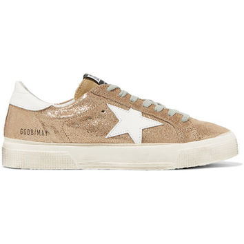 Golden Goose Deluxe Brand - May distressed metallic suede and leather sneakers