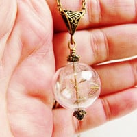 Elegant Bronze Dandelion Seed Filled Glass Ball Necklace, Lucky You