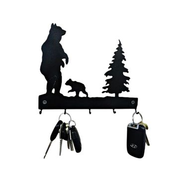 Bear Key Hook - Laser Cut Metal Wall Decor Sign