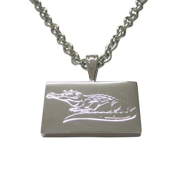 Silver Toned Etched Detailed Alligator Pendant Necklace