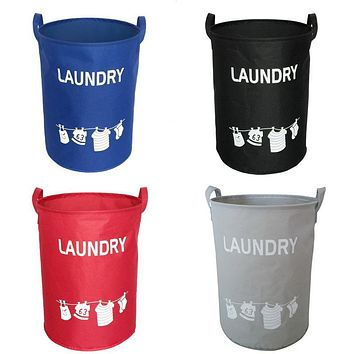 Hoomall Foldable Cotton Linen Laundry Basket Washing Clothes Storage Basket For Toys Hamper Storage Bag Waterproof