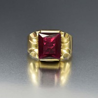 Mens Art Deco Gold and Ruby Ring