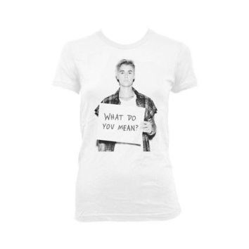 Justin Bieber What Do You Mean Licensed Women's Junior T-Shirt - White