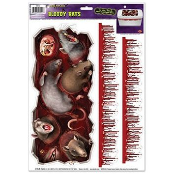 "Beistle Bloody Rats Toilet Tank Peel 'N Place, 12"" x 17"", Multicolor"