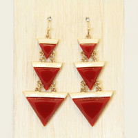 Carmine Triangular Drop Earrings