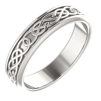 5mm Wide Celtic Design Band - Sterling Silver, Solid Gold or Platinum