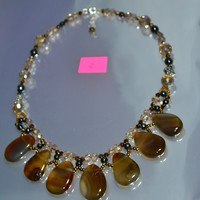 Coffee & Tea Radiant Statement Pear Shapes Necklace [ #2 ]