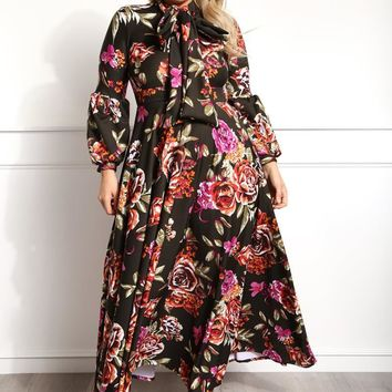 Floral Bow Flowy Holiday Plus Size Maxi Dress