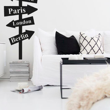 Wall Decal Vinyl Sticker Decals Decor Design Street Sign NY London Custom Countryes Cites Bedroom Dorm Office (r1366)