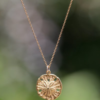 Gold sand dollar necklace - delicate necklace - a dainty gold sand dollar hanging from a 14k gold vermeil chain