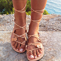 Tie up Greek sandals, Gladiator Sandals, Greek sandals, Handmade, Women's sandals,Adjustable lace, Summer Sandals, Wrap up flats,