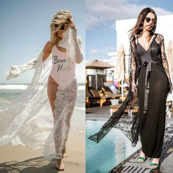 Saida De Bath Swimwear Female Large Size Women Beach Wear Beachwear Ladies Kaftan 2018 Lace Embroidered Skirt Sexy Big Girl