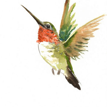 Hummingbird, original watercolor painting, flying hummingbird, 12 X 9 in