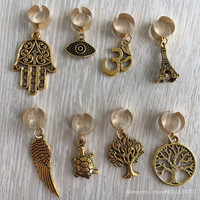 Free shipping 8Pcs/Lot gold plated adjustable hair braid dread dreadlock beads clips cuff