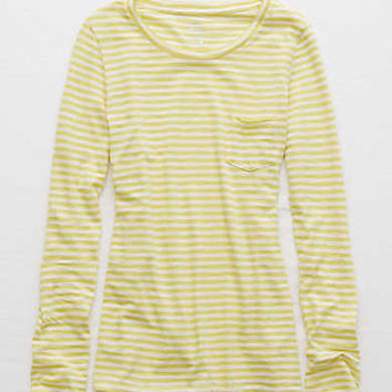 Aerie Real Soft® Striped Tee, Bright Neon Green