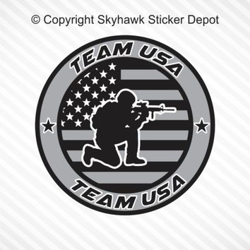 TEAM USA Armed Forces Subdued United States Flag Vinyl Decal Car Bumper Sticker