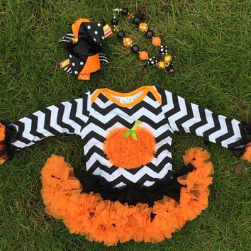 Baby Halloween Dress, Baby Halloween Onesuit, Girls Pumpkin Dress, Chevron Dress, Girls Chevron Dress, Kids Halloween Outfit, Halloween Tutu