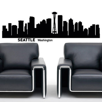 Seattle Washington City Skyline Silhouette  Wall Decal Vinyl Sticker Art Home Decor for Living Room C014