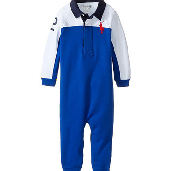 Ralph Lauren Baby Interlock Color Block One-Piece Coveralls (Infant) Sapphire Star - Zappos.com Free Shipping BOTH Ways