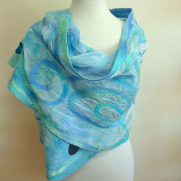 Blue Silk and Wool Wrap Nuno Felted Silk Scarf Sea by sesenarts
