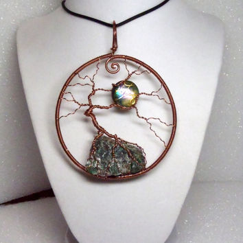 Huge Stateme Moon Bonsai Tree Of Life Chrysocolla Pendant Sterling Silver Wire Wrapped Raw Stone Necklace Asymmetrical Jewelry FREE SHIPPING