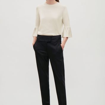 Knitted top with pleated sleeves - Khaki green - Sale - COS US