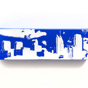 Philadelphia Skyline Canvas (Cobalt Blue with White) Screenprint/Painting, Philadelphia Wall Art, Urban Art, Philadelphia Print, Blue Decor