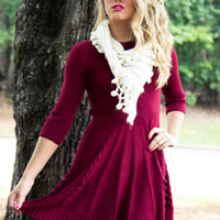 Cozy Up Sweater Dress - Burgundy