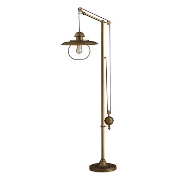 D2254 Farmhouse Floor Lamp In Antique Brass With Matching Metal Shade - Free Shipping!