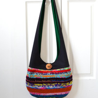 Hobo Bag, Sling Bag, Knitted Patchwork, Neon, Colorful, Black, Hippie Purse, Crossbody Bag