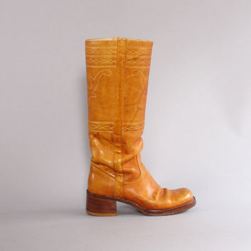 70s FRYE Campus BOOTS / Golden Brown Leather Embroidered ANTLERS Tall Boots 6