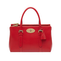 Bayswater Double Zip Tote in Bright Red Shiny Goat | Women's Bags | Mulberry