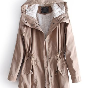 Khaki Hooded Long Sleeve Drawstring Pockets Fleece Coat -SheIn(Sheinside)