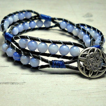 Double Wrap Leather Bracelet, Blue Skies Bracelet, Wrap Around, Womens Bracelet, CIJ