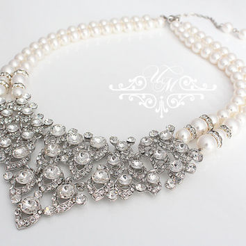 Wedding Jewelry Rhinestone Necklace Double Strands Swarovski Pearl Necklace Bridal Necklace Bridal Jewelry Bridesmaids Necklace - ACIA