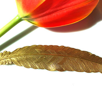 Gold Feather Hair Pin Stunning Bobby Pin Elegant Brass Barrette Wedding Gift Boho Vintage Tress Temptress