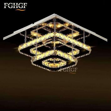 Modern  Crystal LED Ceiling light Square Lustre Luminarias Para Sala LED lamps for home aisle corridor balcony kitchen fixtures