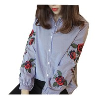 Turn-Down Collar Floral Embroidery Loose Shirt