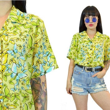 vintage 90s butterfly print shirt graphic novelty CUTE kawaii button up blouse yellow teal green top hippie boho 90s does 70s medium