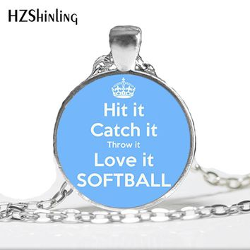 2017 New Quote Softball Necklaces Love Softball Jewelry Glass Photo Cabochon Necklace Sports Pendant Gifts for Men Women