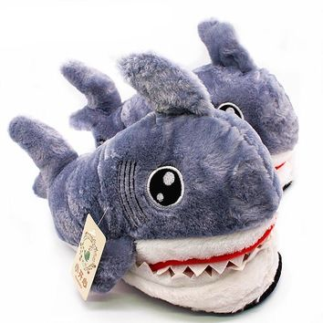 Shark Funny Indoor Furry Slippers
